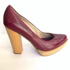 Michael Kors Patent Leather Platform Wood Heels 8